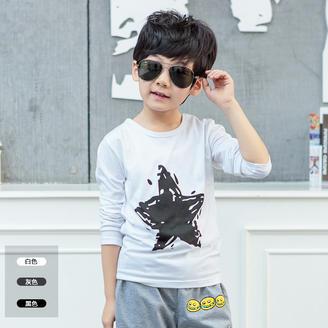 2015秋季新款童装韩版时尚修身五角星印花上衣百搭长袖套头T恤衫