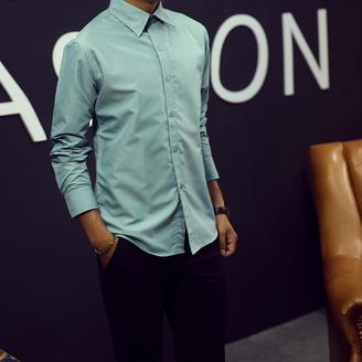 2015冬季新款男装时尚都市修身纯色衬衫简约百搭尖领长袖男款衬衣