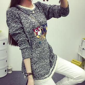 2015年秋装新款女装韩版时尚休闲百搭花色毛线猫头鹰图案圆领毛衣