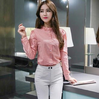 2015年秋季女装新款时尚韩版纯色木耳边立领单排纽扣长袖百搭衬衫