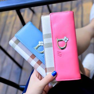 2015新款包包韩版时尚甜美清新长款钱包格子D字钱包3折时尚钱包
