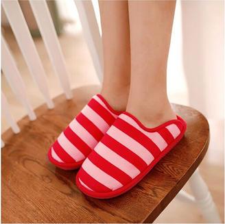 2015冬季新款情侣鞋休闲条纹冬季情侣家居拖鞋平跟拖鞋绒面棉拖