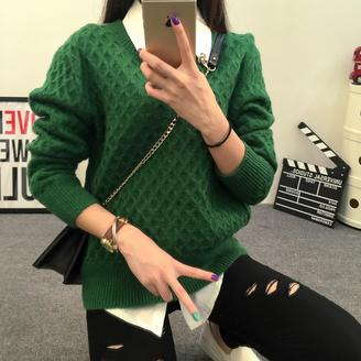 2015秋冬新款套头麻花针织衫韩版时尚修身圆领长袖女毛衣 潮 百搭