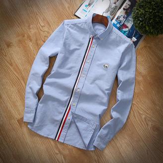 2015冬季新款男装潮男必备修身拼色衬衫韩版时尚扣领尖领长袖衬衣