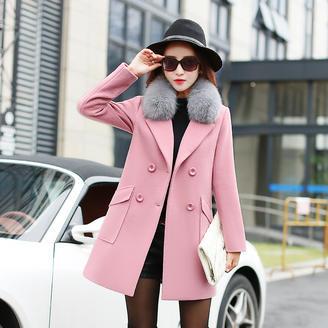 2015英伦风冬季时尚新款修身双排扣狐狸毛领外套百搭中长款呢大衣