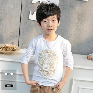 2015秋季新款中大童装韩版时尚人头印花T恤男童百搭修身长袖上衣