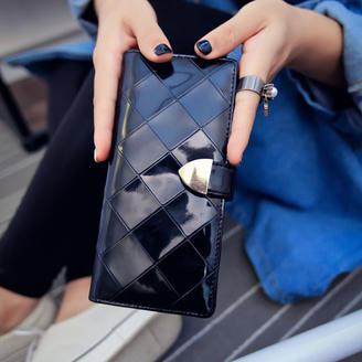 2015新款包包优雅大气时尚亮面韩版钱包2折长款钱包菱格钱夹