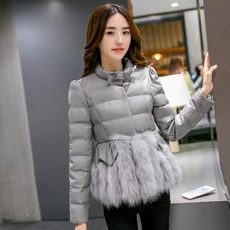 2015冬季时尚韩版短款羽绒服 女士短款皮草狐狸毛修身PU皮外套