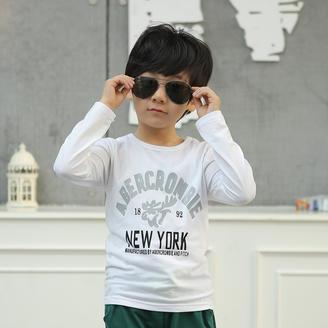秋季2015韩版百搭修身印花长袖上衣新款时尚圆领套头男中大童T恤