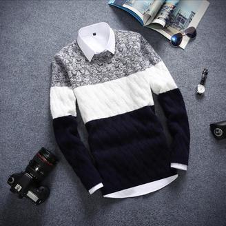 2015冬季新款男装韩版时尚修身拼色针织衫百搭圆领套头毛衣男上衣