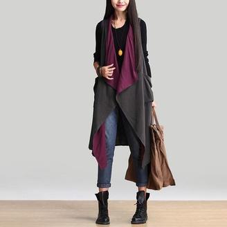 2015秋装新款韩版女装两面穿马甲 休闲宽松大码中长款拼色外套