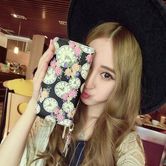 2015新款包包韩版时尚甜美清新时钟双拉链钱包流行印花长款钱包