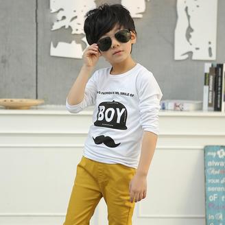 2015秋季韩版男中大童胡子印花长袖上衣百搭新款圆领套头T恤衫
