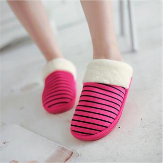 2015冬季新款情侣拖鞋经典条纹款情侣棉拖鞋舒适平跟家居拖鞋