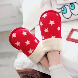 2015冬季新款情侣鞋清新甜美舒适棉拖鞋星星图案情侣家居拖鞋
